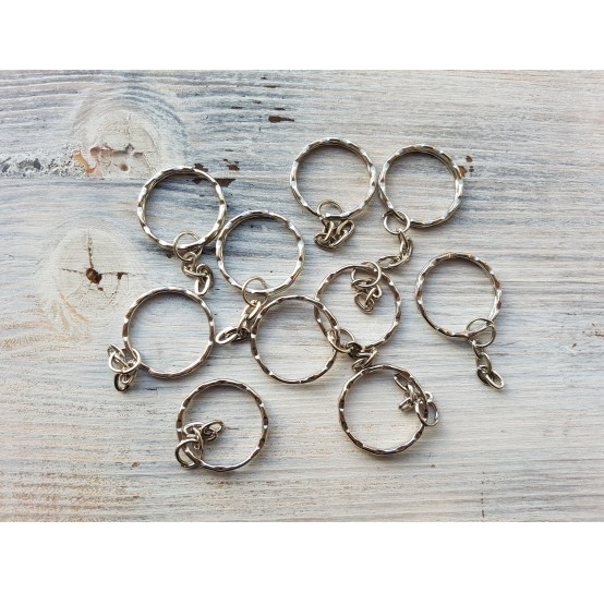 Keychain rings, silver, 10 pcs.