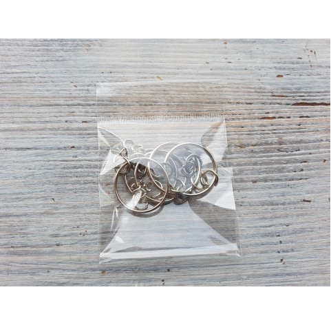 Keychain rings, silver, 5 pcs.