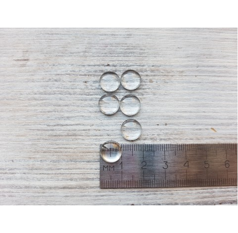 Glass cabochon, 6 pcs., ~ Ø 10 mm