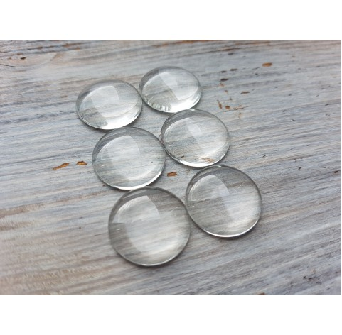 Glass cabochon, 6 pcs., ~ Ø 18 mm
