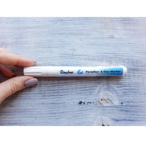 Felt pen/marker for porcelain and glass, white, for lines 1-2 mm
