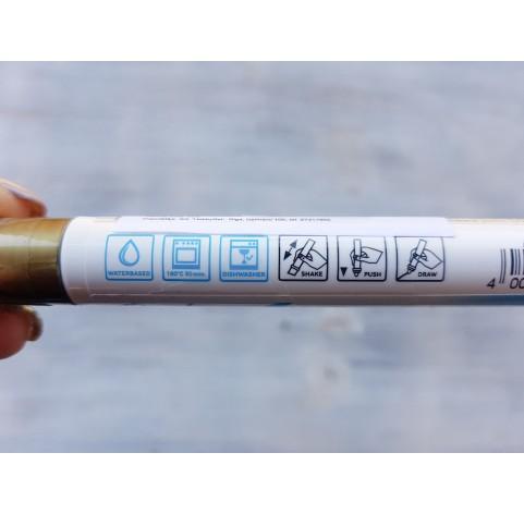 Felt pen/marker for porcelain and glass, gold, for lines 1-2 mm