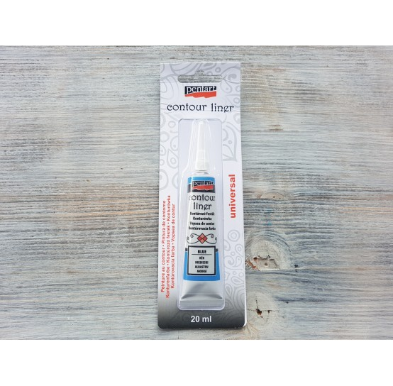 PENTART contour paint for all surfaces, water-based, blue, 20 ml