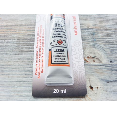 PENTART contour paint for all surfaces, water-based, orange, 20 ml