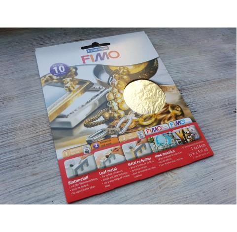 FIMO metal leaves 14*14 cm, gold, 10 pcs., No. 878111