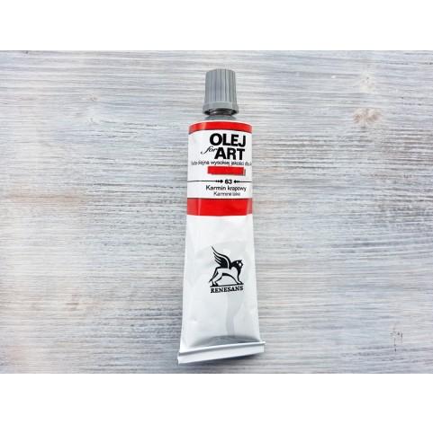 Renesans OLEJ FOR ART oil paint, carmine lake, 60 ml, No. 63