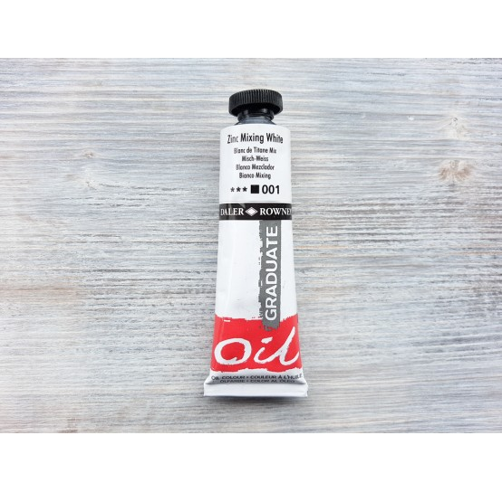 """DALER ROWNEY oil paint """"Graduate oil"""", zinc mixing white, 38 ml, No. 001"""
