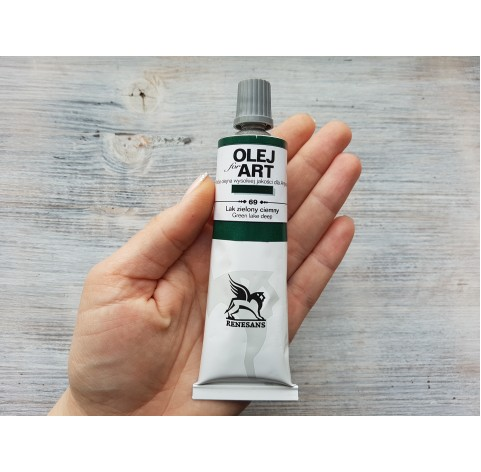 Renesans OLEJ FOR ART oil paint, green lake deep, 60 ml, No. 69