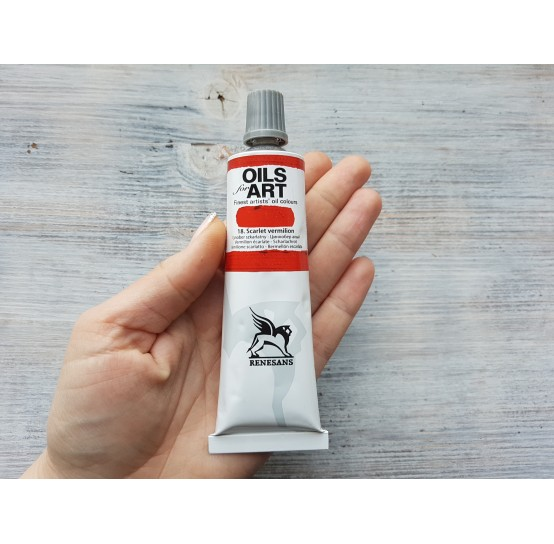 Renesans OLEJ FOR ART oil paint, scarlet vermilion, 60 ml, No. 18