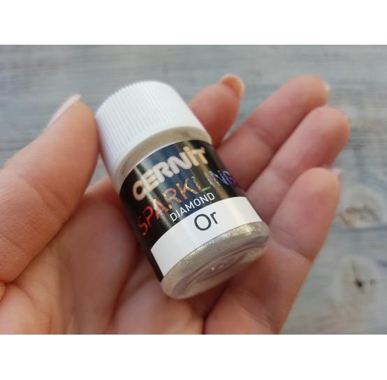 Cernit metallic powder Mika, Or, diamond white gold, 5 g