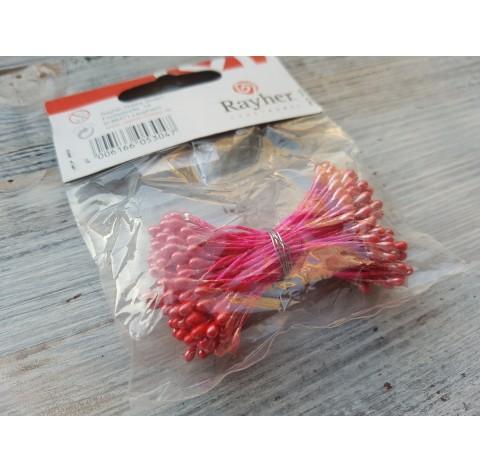 Decorative pistils, red, 144 pcs