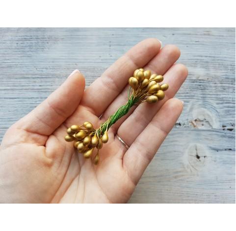 Decorative pistils, gold, 6 mm, 24 pcs
