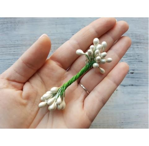 Decorative pistils, white, 6 mm, 24 pcs