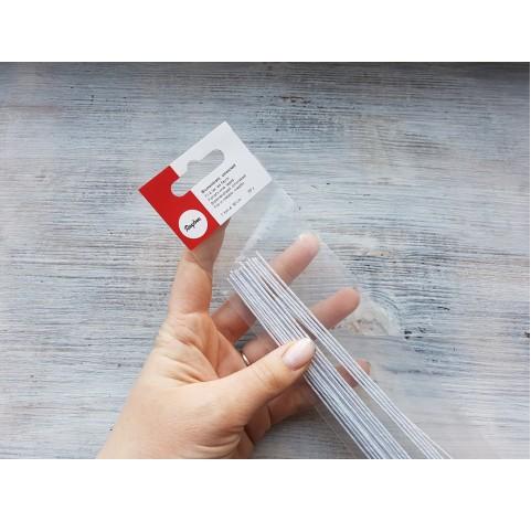 Floristic cut wire with tape, white, Ø 1 mm, 50 cm, 20 pcs.