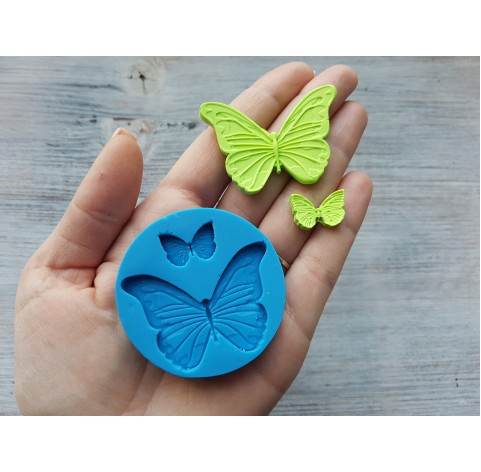 Silicone mold, butterflies, 2 pcs., ~ 1.8-5 cm