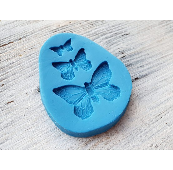 Silicone mold, butterflies, 3 pcs., ~ 1.8-4 cm