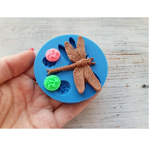 Silicone mold, dog dragonfly and 2 flowers, ~ 5.8*4.6 cm, ~ Ø 1.4 cm