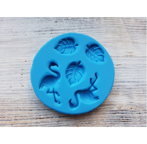Silicone mold, flamingos and leaves, ~ 1.6*2.2 cm, ~ 2*3.8 cm