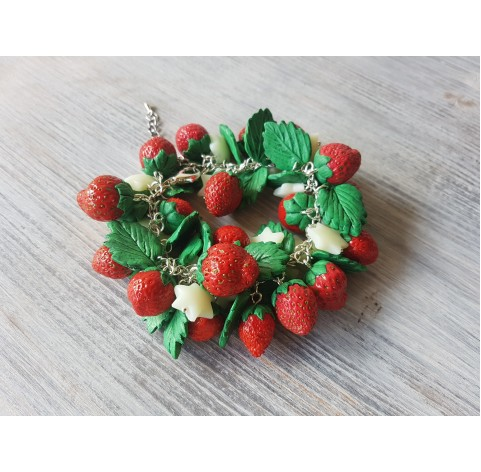 Silicone mold whole strawberry, 3 berries, M, ~ Ø 1.4-1.6 cm