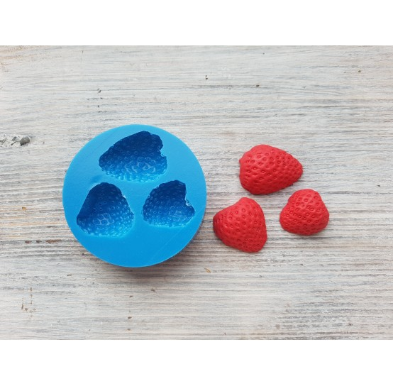 Silicone mold half of strawberry, natural, 3 pieces, ~ Ø 2-2.3 cm