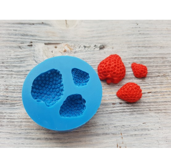 Silicone mold half of strawberry, artificial, 3 berries, ~ Ø 1.2-2.5 cm