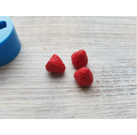 Silicone mold garden strawberries, artificial, 3 berries, ~ Ø 1 cm