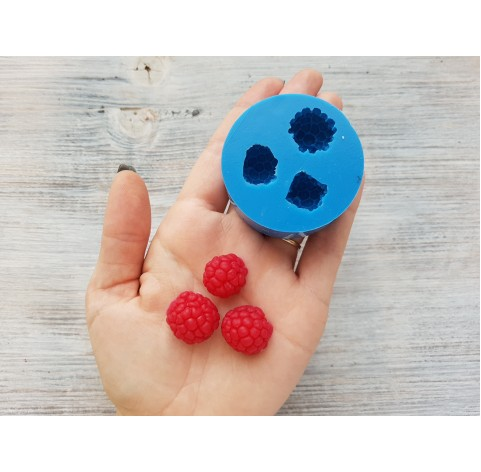 Silicone mold raspberry, 3 berries, XL, ~ Ø 1.7-2 cm