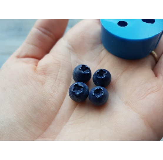 Silicone mold handmade blueberry, 4 berries, small, ~ Ø 1 cm