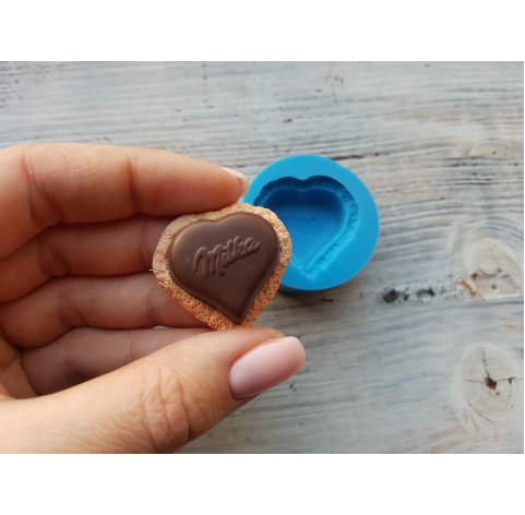 Silicone mold, chocolate heart with biscuit, ~ 3.2 cm