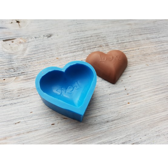 """Silicone mold, chocolate candy heart """"L"""", ~ 4.2 cm"""