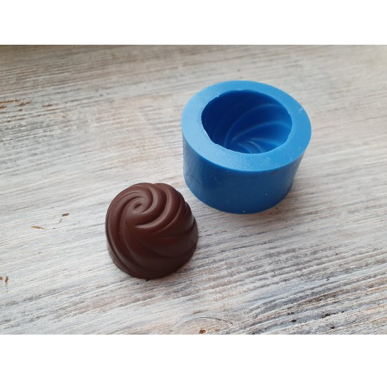 Silicone mold, large chocolate candy, spiral, ~ 3.3 cm