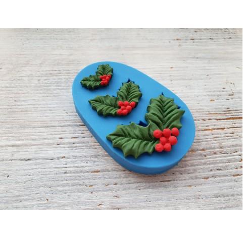 Silicone mold, Christmas mistletoe leaves, 3 pcs., ~ 2.5-4.9 cm