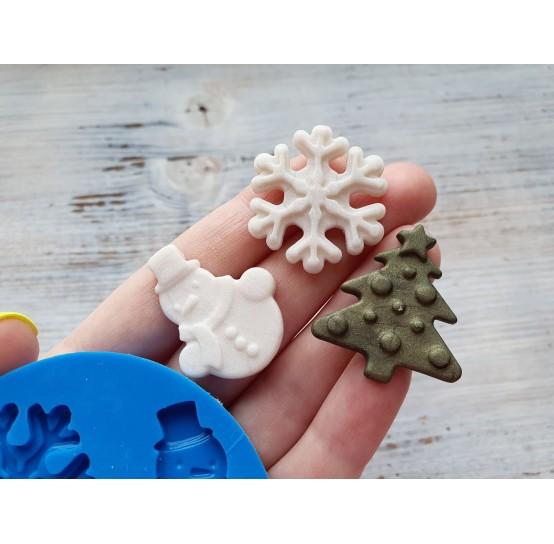 Silicone mold, Christmas set, 3 pcs., spruce ~ 2.9*3.2 cm, snowflake ~ 3.2*3.1 cm, snowman ~ 2.6*3.3 cm