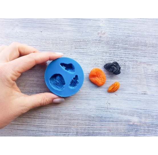 Silicone mold, dried fruits (apricot, plum, raisin), ~ 1.4-2.4 cm