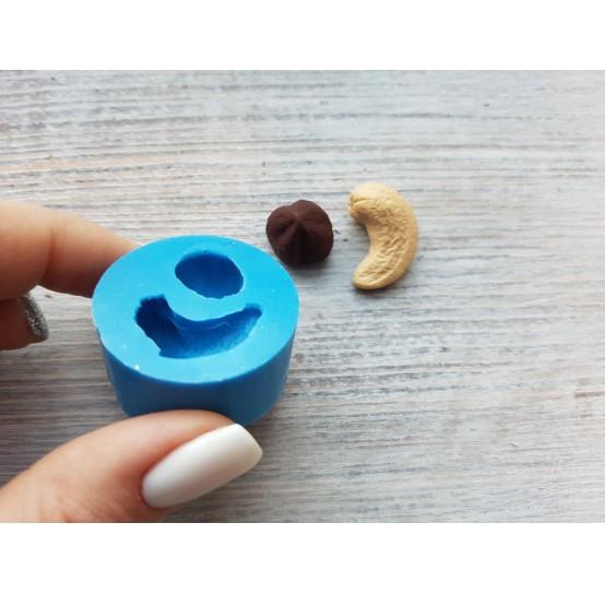 Silicone mold, 2 nuts, cashew and hazelnut, ~ 1*2.2 cm, ~ Ø 1.4 cm