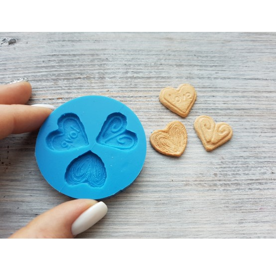"""Silicone mold, cookie set """"heart"""", 3 pcs., ~ 2 cm"""
