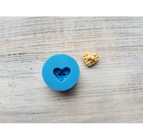 Silicone mold, waffle heart with strawberries, 1.3*1.5 cm