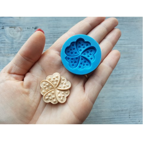 Silicone mold, cookie flower with figures, ~ 3.2 cm