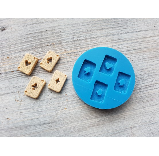 """Silicone mold, cookies set """"playing cards"""", 4 pcs., ~ 1.5*2 cm"""