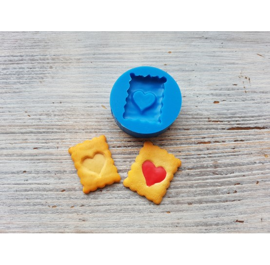 Silicone mold, cookie heart with jam, ~ 1.3*2.8 cm