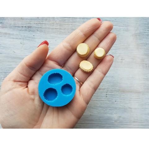 Silicone mold, three mini cupcakes, ~ 1.3-1.5 cm