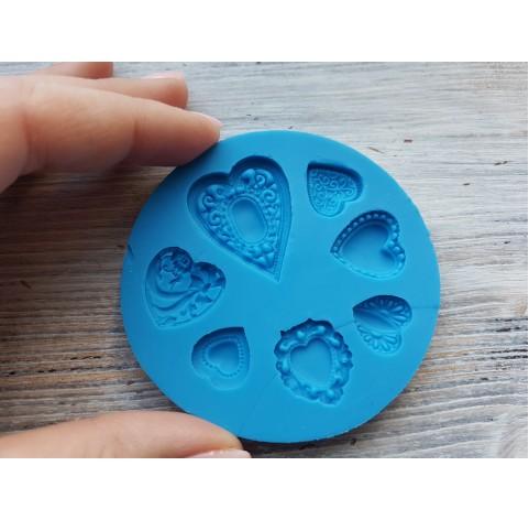 Silicone mold, hearts, 7 pcs., ~ 1.3-3.2 cm