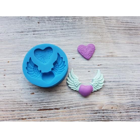 Silicone mold, hearts, 2 pcs., ~ 1.5*1.7 cm, ~ 2.6*3.5 cm
