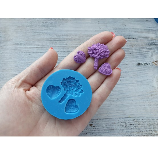 Silicone mold, bouquet and 2 hearts, ~ 1.4-2.8 cm