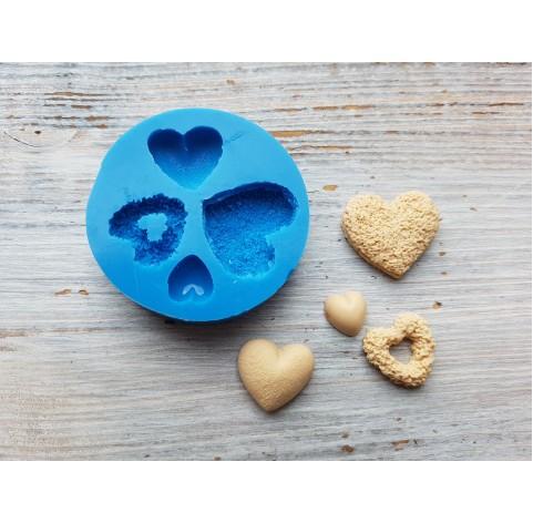 Silicone mold, hearts, 4 pcs., ~ 1.1-2.4 cm