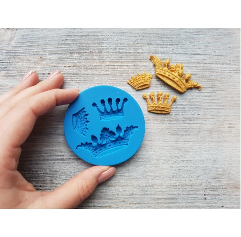Silicone mold, crown, 3 pcs., ~ 2.4-5.6 cm