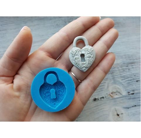 Silicone mold, lock, heart, ~ 2.7*3.7 cm