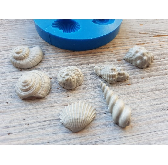 Silicone mold, seashells, artificial, 7 pcs., ~ 1.5-3.2 cm