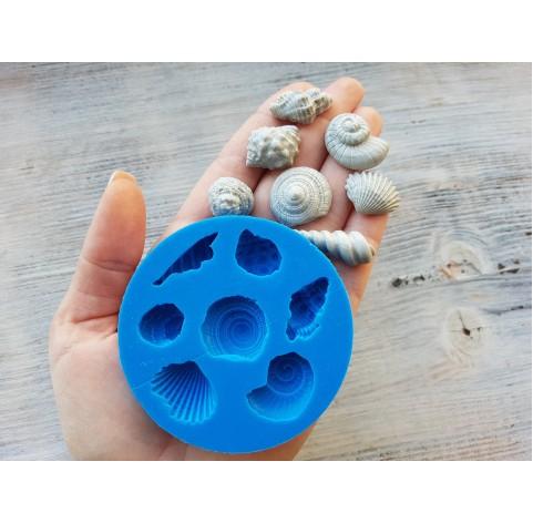 Silicone mold, shells, artificial, 7 pcs., ~ 1.5-3.2 cm