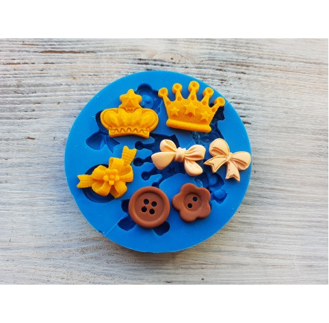 Silicone mold, set of 7 types (crown, buttons, bows), ~ 1.6-3 cm